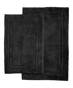Black Cotton Bath Mat Set
