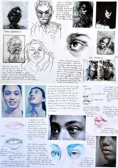 These sketchbook pages are an example of the artist analysis and experiment that Samantha completed as part of her GCSE exam project. The drawing and media trials demonstrate a level of technical skill and confidence that is well beyond her years. Inspiration Art, Sketchbook Inspiration, Sketchbook Ideas, Arte Gcse, Artist Research Page, Kunst Portfolio, Gcse Art Sketchbook, A Level Art Sketchbook Layout, Sketching