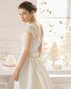 HOBNOB Arlette vestido de novia tejido encaje y pedreria y mikado