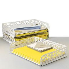 stacking letter trays to keep loose paper organized