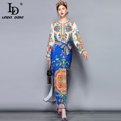 Runway Maxi Dress Womens Long Sleeve Bow Belt Side split Patchwork Floral Print Holiday Vintage Long Dress Vintage Long Dress, Maternity Fashion, Pregnancy Fashion, Bow Belt, Pretty Outfits, Pretty Clothes, Fashion Capsule, Side Split, Fast Fashion