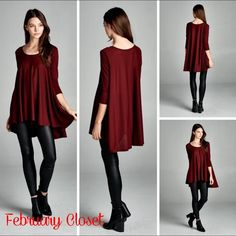 Luxe Hi-Low Swing Top Best seller look. Feel glam in this loose fit, three quarter length sleeves, round neck, hi-low swing top. Made with lightweight knit fabric that is soft, drapes well and has good stretch. Pair with your fav leggings or skinny jeans for a great holiday party look. Color: Burgundy. Tops Tunics