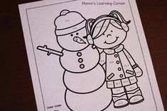 Color By Number Worksheet: January Snowman