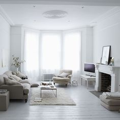 My dream living room (: Use a brilliant white room as the starting point and layer up soft furnishings in cream, ivory and beige to create a subtle scheme.