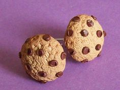 Cookies stud earrings polymer clay fimo handmade by CreationsbyMD, $3.00