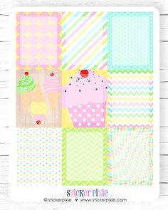 Vertical Full Box Sticker Sheets, Horizontal Full Box Sticker Set Ice Cream Theme for use with ERIN CONDREN LifePlanner