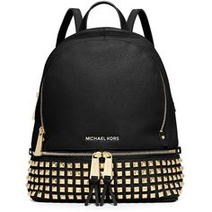 Michael Michael Kors Rhea Studded Leather Backpack ($358) ❤ liked on Polyvore featuring bags, backpacks, black, leather knapsack, real leather backpack, anchor bag, black leather backpack and michael michael kors
