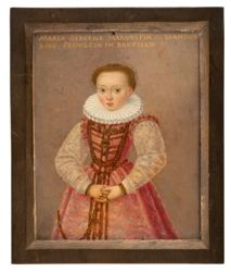 """This tiny (slightly over 2"""" across) portrait shows a young Princess Marie of Prussia (1579–1655), daughter of Albert Frederick of Prussia. In 1604 she was married to Margrave Christian of Brandenburg-Bayreuth. She is shown wearing a red dress decorated with gold braid, chains and stones in gold settings. It is topped with a stiff, white ruff. Her hands – devoid of the accessories often shown in portraits of royal sisters to distinguish them – are folded in front of her. The Tansey Miniatures…"""