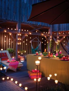 Romantic terrace with candles at night.