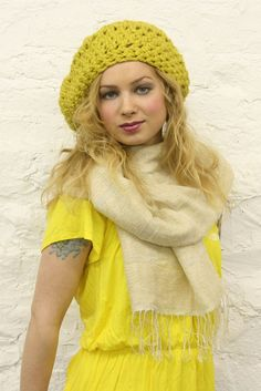 Slouchy knit hat.