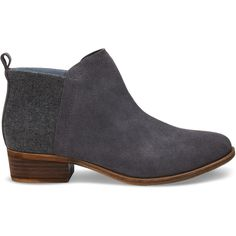 TOMS Castlerock Grey Suede Women's Deia Booties ($98) ❤ liked on Polyvore featuring shoes, boots, ankle booties, castlerock grey, suede boots, gray boots, short boots, low heel ankle boots and suede ankle boots