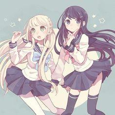 anime, kawaii, and dangan ronpa image Manga Girl, Anime Girls, Anime Art Girl, Anime Best Friends, Friend Anime, Manga Kawaii, Kawaii Anime Girl, Anime Chibi, Anime Style