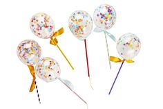 This pack contains six confetti balloon pops. Each kit contains 6 confetti filled balloons, 6 straws, string, ribbon and instructions on how to make. We recommend inflating with a balloon pump. For your confetti balloon rub the balloon with your hand to c Happy Balloons, Mini Balloons, Rainbow Balloons, Latex Balloons, Balloons Galore, Poppies For Grace, Paper Party Bags, Balloons Online, Balloon Pump
