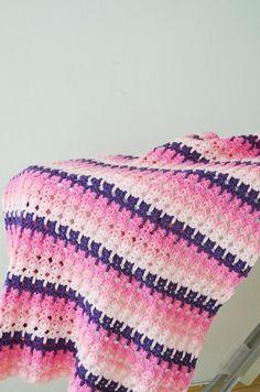 "41"" x 41"" Pink and Purple crochet blanket, Granny Square , afghan, lap blanket, multicolor stripes, honeymoon"