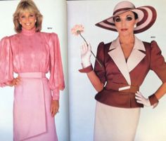 Ultimate '80s icons: Joan Collins and Linda Evans. And McCall's had them! A page from a May 1984 McCall's catalog. #mccalls #vintagepatterns #dynastytvshow