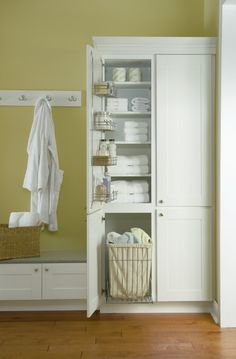 No more wet towels on the floor. A Vanity Utility cabinet from Diamond keeps all your dirty (and clean) laundry where it belongs. http://www.diamondcabinets.com/