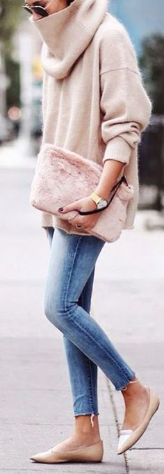 We Wore What Blush Oversized Cowl Neck Sweater Fall Inspo