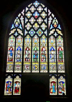 Stained Glass. Heraldic windows Shropshire, Ludlow, West window by T Williment, heraldic painter to the Royal Family c1862.