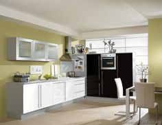 Pictures of Kitchens - Modern - Black Kitchen Cabinets (Page Green Kitchen Walls, Two Tone Kitchen Cabinets, White Kitchen Backsplash, Kitchen Cabinet Design, Green Walls, Cream Cabinets, White Cabinets, Small Modern Kitchens, Modern Kitchen Island