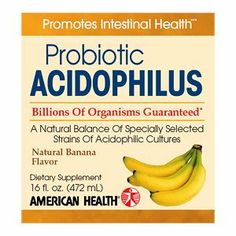 AMERICAN HEALTH Acidophilus Culture Banana 16 OZ by American Health. Save 40 Off!. $8.03. 15 Servings Per Container. 16 Ounces Liquid. Suitable for Vegetarians. Serving Size: 2 tablespoon. Gluten Free. Maintain your daily digestive health, natural regularityand optimal intestinal balance with liquid milk-basedProbiotic Acidophilus.* Acidophilus helps to stimulatethe growth of beneficial bacteria in the digestive andintestinal tracts, encourages proper nutrient absorptionand promote...