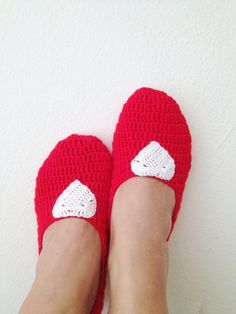 Red with white heart  Slipper SocksHome slippers  by NesrinArt, $21.00
