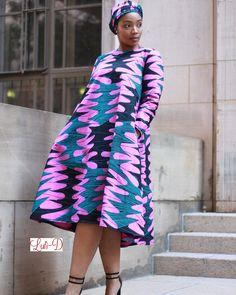 Purple Rain Dress. Pink longsleeved Ankara midi dress African Wedding Dress, African Print Dresses, African Dress, African Prints, African Attire, African Wear, African Women, African Style, African Fashion Ankara