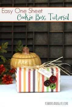 Follow this Easy Cookie Box Tutorial made out of one sheet of Scrapbook Paper!  The perfect size to hold all sorts of treats!