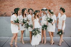 Bridesmaids in white Forever21 dresses with greenery crowns. Nice style for a beach wedding