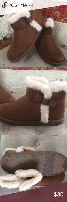 SO Chestnut Brown Faux Fur Boots NWT Color is called Chill Chestnut Brown.  Brand new in the box.  Cream faux fur ankle boots.  Lightweight with small tread. Size 8. Suede. SO Shoes Ankle Boots & Booties