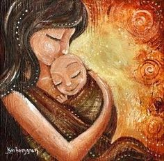 Mother wearing infant in front wrap, kissing baby head, archival autographed motherhood print - Noth Mother Art, Mother And Child, Birth Art, Baby Painting, Baby Head, Baby Wraps, Stretched Canvas Prints, Baby Wearing, Original Paintings