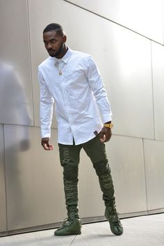 Image of Biker Ripped Jeans ( military green)