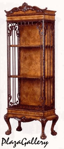 "25""W    Elaborate Ironwork Intrique Curio Bookcase"