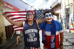 July 1, 2014 - Salvador, Brazil: Team USA soccer fans on street at World Cup
