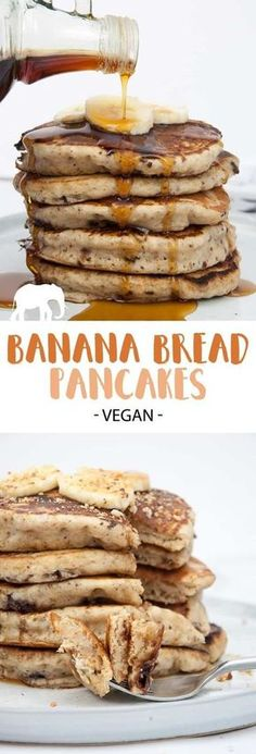 Vegan Banana Bread Pancakes with Chocolate Chunks Recipe + Video Looking for a dairy-free and egg-free pancake recipe? Then you'll love these easy-to-make vegan Banana Bread Pancakes with Chocolate Chunks! Egg Free Pancakes, Vegan Pancakes, Fluffy Pancakes, Pancakes Easy, Pancakes With Banana, Banana Almond Flour Pancakes, Fruit Pancakes, Oat Flour, Vegan Foods