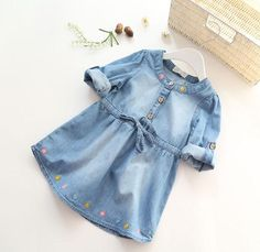 Long Sleeve Flower Embroidery Denim Dress
