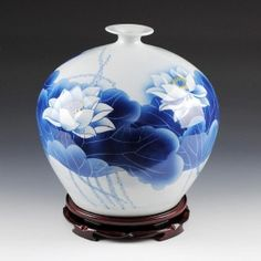 Hand Painted Blue and White Porcelain Vase