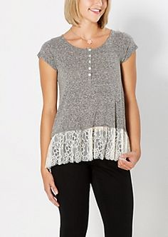 Embraced by Lace Gray Henley Tee Taylor & Sage®