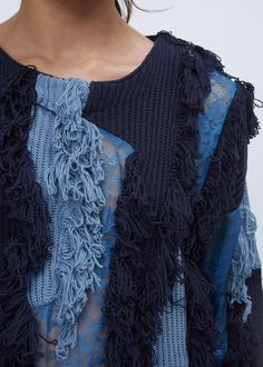 Mixed knit and lace paneled sweater with fringed detail throughout. Knitwear Fashion, Knit Fashion, Sweater Fashion, Girls Sweaters, Sweaters For Women, Fashion Details, Fashion Design, Knitting Designs, Autumn Winter Fashion