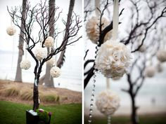 Example Of Effect of Branch With Pomanders...Use Baby's Breath, Ocean Song Rose, and Vanilla Carnation White and Cream Balls to hang from Lavender and Purple Satin Ribbon. Purple Pomander to have a Soft Ivory Satin Ribbon.