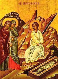 Holy Saturday - Greek Orthodox Archdiocese of America Catholic Art, Catholic Saints, Religious Icons, Religious Art, Holy Saturday, Sunday, Gospel Of Luke, Christ Is Risen, Orthodox Christianity