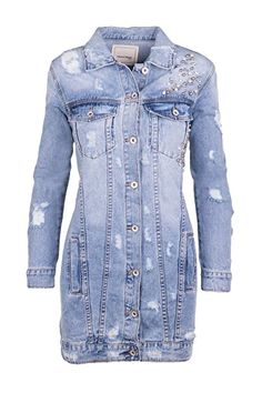 Lange jeansjacke mit patches