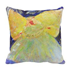 Serene Angel Designer Art Pillow by artist Marie-Jose Pappas of Innocent Originals