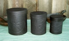 Rustic Brown Primitive Star Embossed Tin Canister Set-Country Kitchen-Hi-Quality