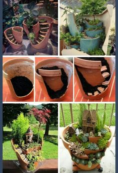 Garden Design Jardines Fairy Garden in one of the fun ways of decorating gardens by using broken pots, wood pieces, planters soil and other wrecked items. It creates a miniature fantasy garden with the help of unusable items. Broken Pot Garden, Fairy Garden Pots, Fairy Garden Houses, Garden Planters, Succulents Garden, Backyard Plants, Garden Terrarium, Fairy Gardening, Potted Garden