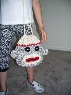 Crochet Sock Monkey Drawstring Bag Pattern by crochetdiva on Etsy, $4.25