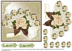 Capaccino And Cream Roses And Fan Topper