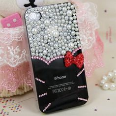 Red bowknot Artificial Pearl hello Kitty case Hello Hello, Hello Kitty, Cool Iphone Cases, Heaven, Pearls, Unique Jewelry, Handmade Gifts, Red, Etsy