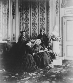 Queen Victoria, the Crown Princess of Prussia (Princess Royal of England), Princess Alice and Prince Alfred, Windsor Castle, 1862 [in Portraits of Royal Children Vol.6 1862-1863] | Royal Collection Trust