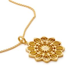 Inspired by ancient Hindu and Buddhist traditions and created in 18k gold. The Mandala pendant is blessed in a sound bath using Tibetan singing bowls, Paiste planet gongs, and string instruments. Concentric circles hand-finished with a matte sheen radiate from a diamond center, echoing the sacred sound Om with a unique design informed by sacred geometry. Infused with powerful healing and balancing sound vibrations, this piece emanates universal forces to inspire inner harmony and peace…