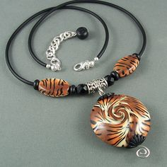 Tiger Print Lentil Swirl Necklace